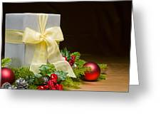 Present Decorated With Christmas Decoration Greeting Card