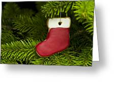 Present Sock Shape Short Bread Cookie In Christmas Tree Greeting Card