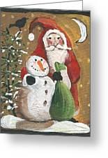 Primitive Santa And Snowman Crow Greeting Card