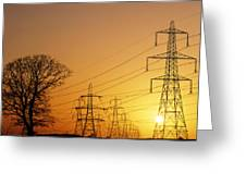 Pylons And Power Lines At Sunset Greeting Card