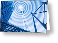 Radio Tower With Radio Waves Greeting Card