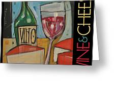 Red Wine And Cheese Poster Greeting Card