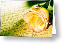 Red Yellow Rose Over A Hand Written Letter Greeting Card
