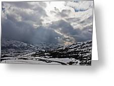 Road Through A Snowy Mountain Landscape Greeting Card