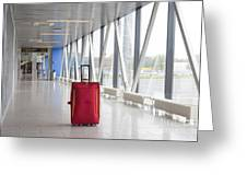 Rolling Luggage In An Airport Concourse Greeting Card