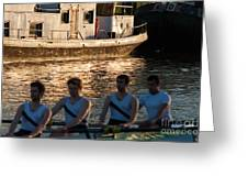Rowers At Sunset Greeting Card