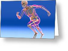 Running Skeleton In Body, Artwork Greeting Card