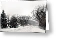 Rural Road In Winter Greeting Card
