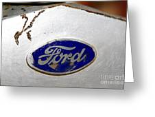 Rusted Antique Ford Car Brand Ornament Greeting Card