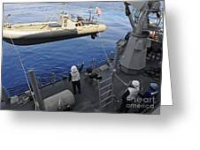 Sailors Lower A Rigid Hull Inflatable Greeting Card