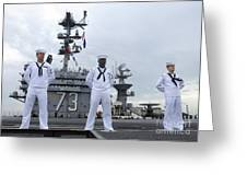 Sailors Man The Rails Aboard Greeting Card