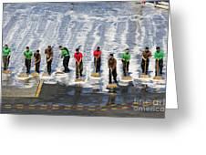 Sailors Perform A Flight Deck Wash Greeting Card