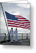 Sailors Stand At Parade Rest Greeting Card