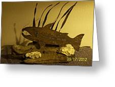 Salmon On Driftwood Greeting Card by JP Giarde