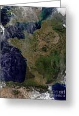 Satellite View Of France Greeting Card