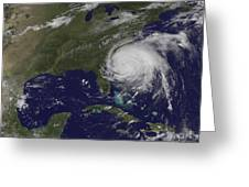 Satellite View Of Hurricane Irene Greeting Card