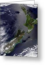 Satellite View Of New Zealand Greeting Card by Stocktrek Images
