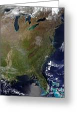 Satellite View Of The United States Greeting Card