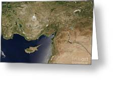 Satellite View Of Turkey And The Island Greeting Card