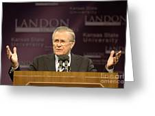 Secretary Of Defense Donald H. Rumsfeld Greeting Card