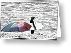 Surfer Umbrella Greeting Card