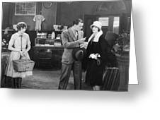 Silent Film Still: Stores Greeting Card