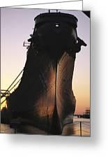 Silhouette Of The Battleship U.s.s Greeting Card