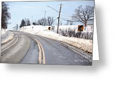 Snow By The Roadside Greeting Card by Ted Kinsman
