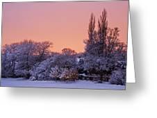 Snow Scene At Sunrise Greeting Card