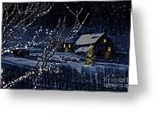 Snowy Winter Scene Of A Cabin In Distance  Greeting Card by Sandra Cunningham