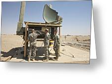 Soldiers Checking A Radar System Greeting Card