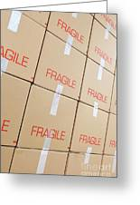 Stacks Of Cardboard Boxes Marked 'fragile' Greeting Card