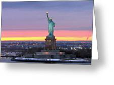 Statue Of Liberty At Sunset Greeting Card