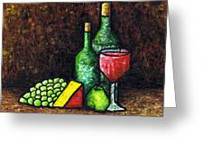 Still Life With Wine And Cheese Greeting Card