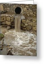 Storm Sewer Water Rushes Into A Stream Greeting Card