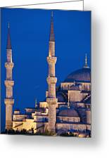 Sultanahmet Or Blue Mosque At Dusk Greeting Card