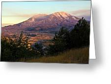 Sun Going Down At Mt. St. Helens Greeting Card