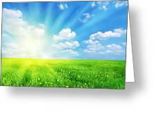 Sunny Spring Landscape Greeting Card