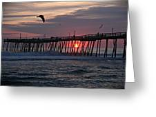 Sunrise At Avalon Pier Greeting Card
