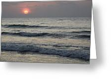 Sunrise Over Arabian Sea Hawf Protected Greeting Card