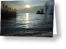 Sunset Over An Alpine Lake Greeting Card