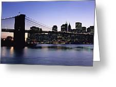 Sunset Over Lower Manhattan Greeting Card