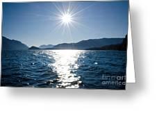 Sunshine Over An Alpine Lake Greeting Card