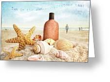 Suntan Lotion And Seashells On The Beach Greeting Card
