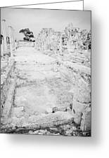 Swimming Pools In The Gymnasium And Baths In The Ancient Site Of Old Roman Villa Salamis Greeting Card by Joe Fox