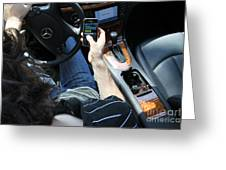 Texting And Driving Greeting Card by Photo Researchers, Inc.