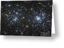 The Double Cluster, Ngc 884 And Ngc 869 Greeting Card