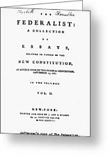 The Federalist, 1788 Greeting Card