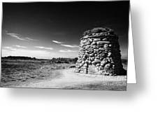 the memorial cairn on Culloden moor battlefield site highlands scotland Greeting Card