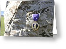 The Purple Heart Award Hangs Greeting Card